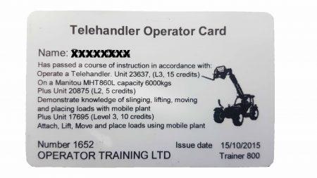 Telehandler Operator card